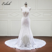 Sexy Illusion Back Mermaid Wedding Dress Lace Appliques Special Design Exquisite Perals Flowers Square Shape Tulle