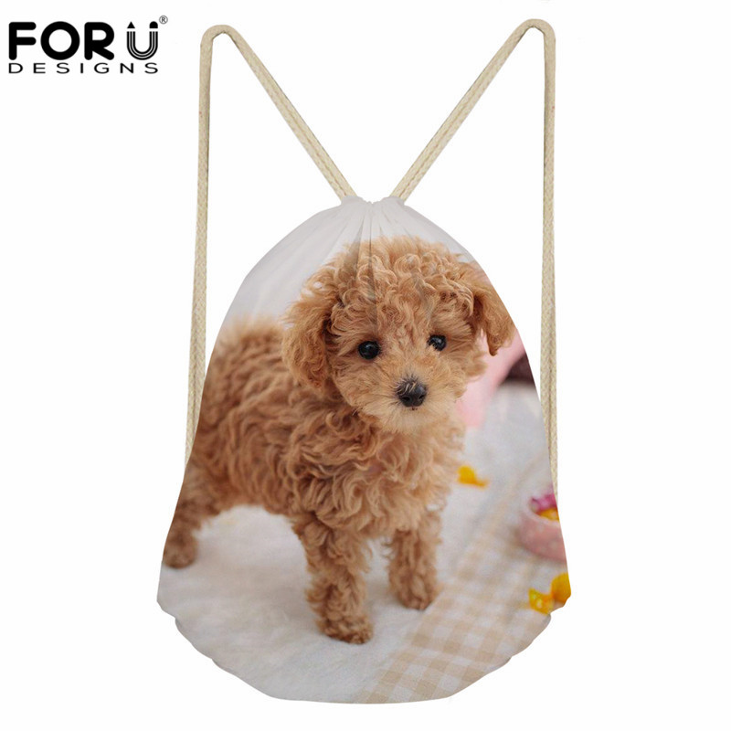 FORUDESIGNS Cute Dog Design Women Drawstring Bag Fashion Travel Cinch Sack Backpack Casual Daily Use Punch Pocket For Teen Girl