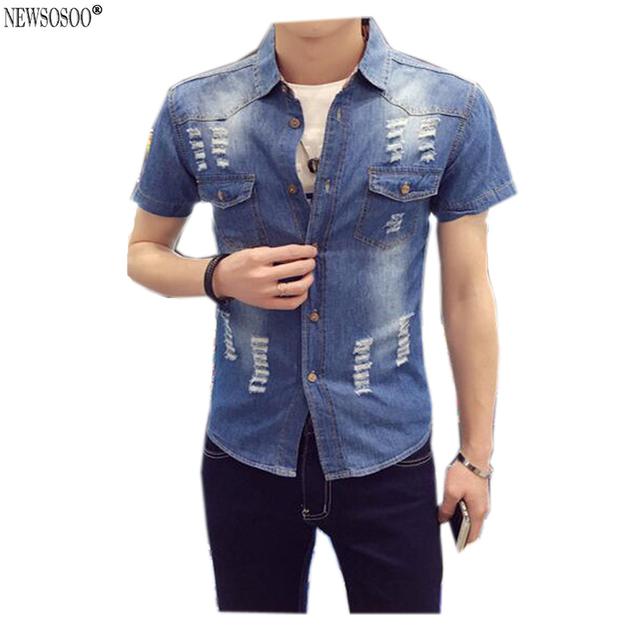 Newsosoo denim camisas dos homens manga curta slim fit casual mens camisas de caubói moda verão 2016 calça jeans camisa masculina dj1
