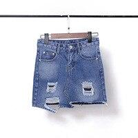 2017 New Elegant Short Jeans Ripped Skirt Women Blue Denim Skirt High Waist Mini Jean Skirts