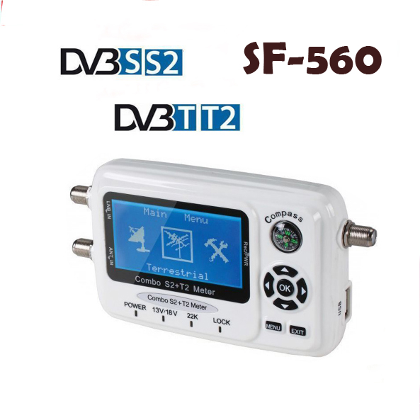 Digital Satellite Finder SF-560 Signal Meter Sat Dish Finder with Compass DVB-S/T/S2/T2 SF 560 better than SF-500 free