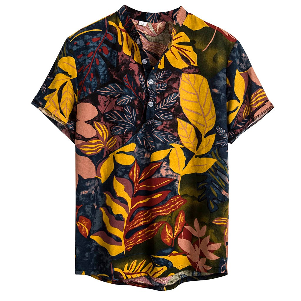 Womail Summer 2019 New Short Sleeve Shirts Men Clothes Cotton Brand Men Shirts Fit Ethnic Style Tribal Print Short Sleeve Shirt