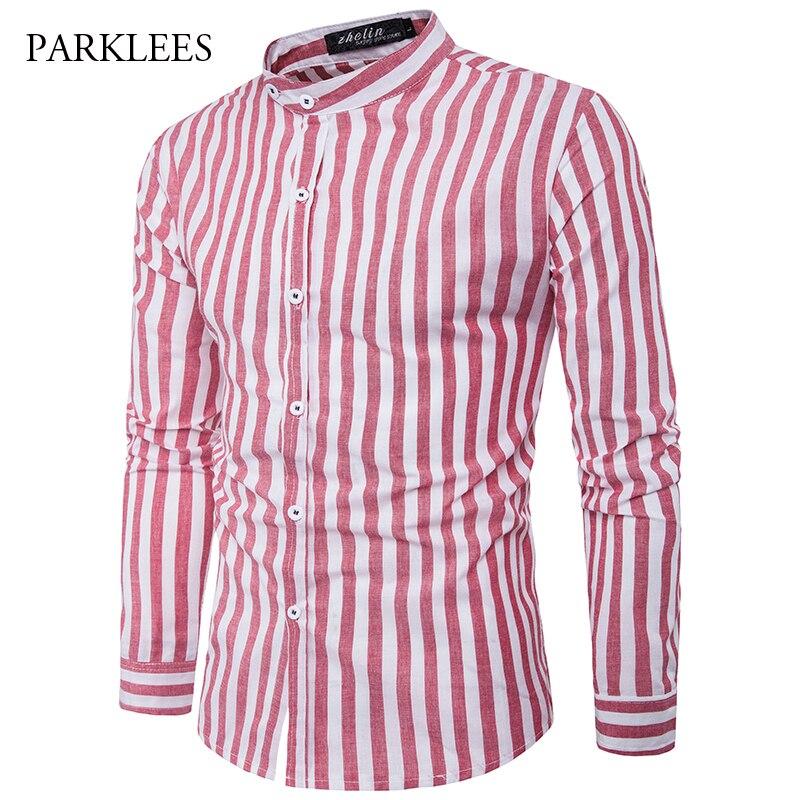 Striped Mens Dress Shirts Long Sleeve Shirt Men Business