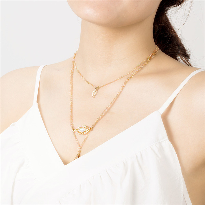 2019 Latest Design Multilayer Stainless Steel Women Necklaces Gold Wedding Chain Pendant 3 Layer Leaf Necklace Men Collares Largos De Moda 2018 R4 Providing Amenities For The People; Making Life Easier For The Population
