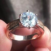 Hot Sale Fashion Luxury Women Engagement Jewelry 925 Silver Rose Gold Classic Six Jaw 3ct CZ