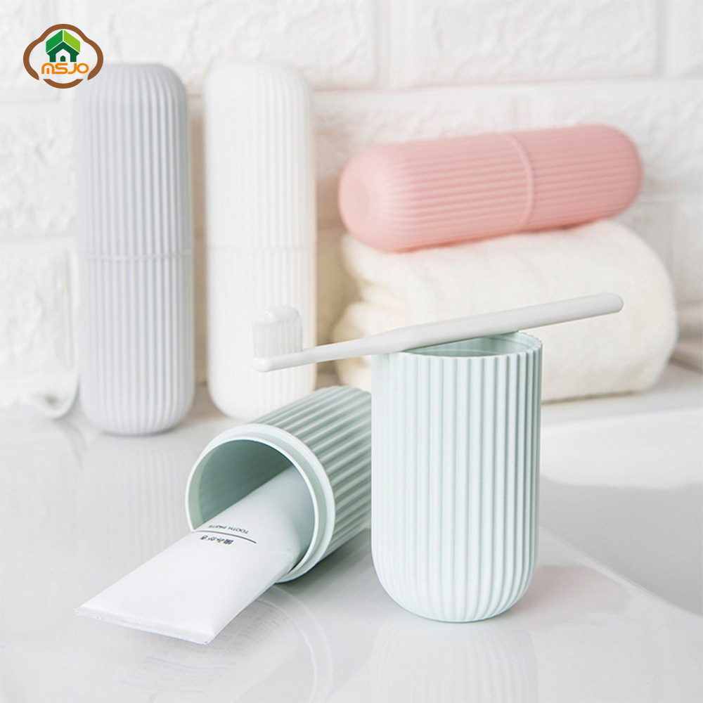 MSJO Toothbrush Toothpaste Holder Portable Cute Cover Travel Case For Toothbrush Box Cup Couple Storage Hot Bathroom Accessories image