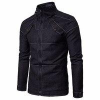 Men Autumn Cowboy Slim Jacket Long Sleeved Denim Solid Blouse Fit Shirt Jacket Autumn Spring For