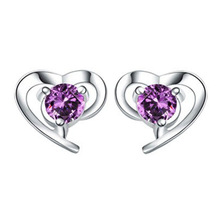 100% 925 sterling silver romantic love heart shiny crystal ladies`stud earrings jewelry women birthday gift drop shipping cheap
