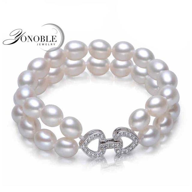 Pulseiras de pérolas de água doce de casamento duplo prata 925, branco real natural pérola pulseira jóias namorada presente de aniversário da filha