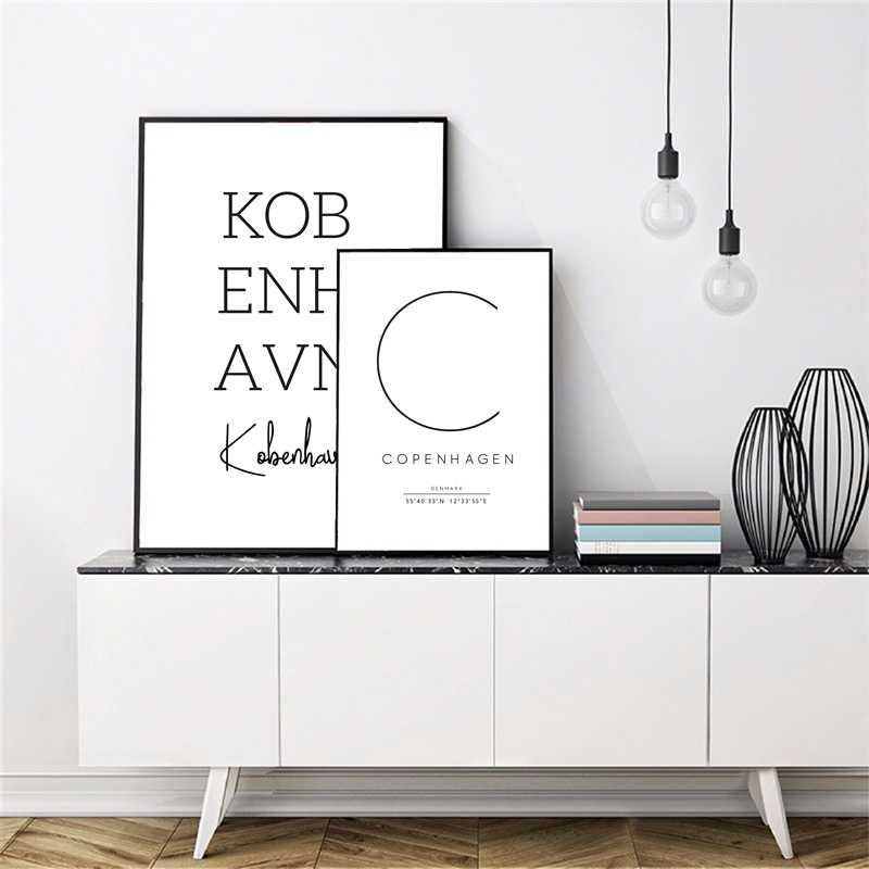 Copenhagen Poster Danish Bedroom Wall Art Decor , Copenhagen Art Canvas Prints City Coordinates Denmark Scandinavian Home Decor