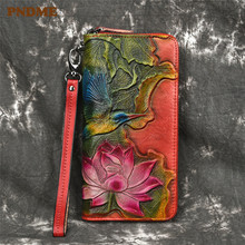 PNDME high quality vintage printed genuine leather ladies wallet top layer cowhide long zipper female purse for women phone bags