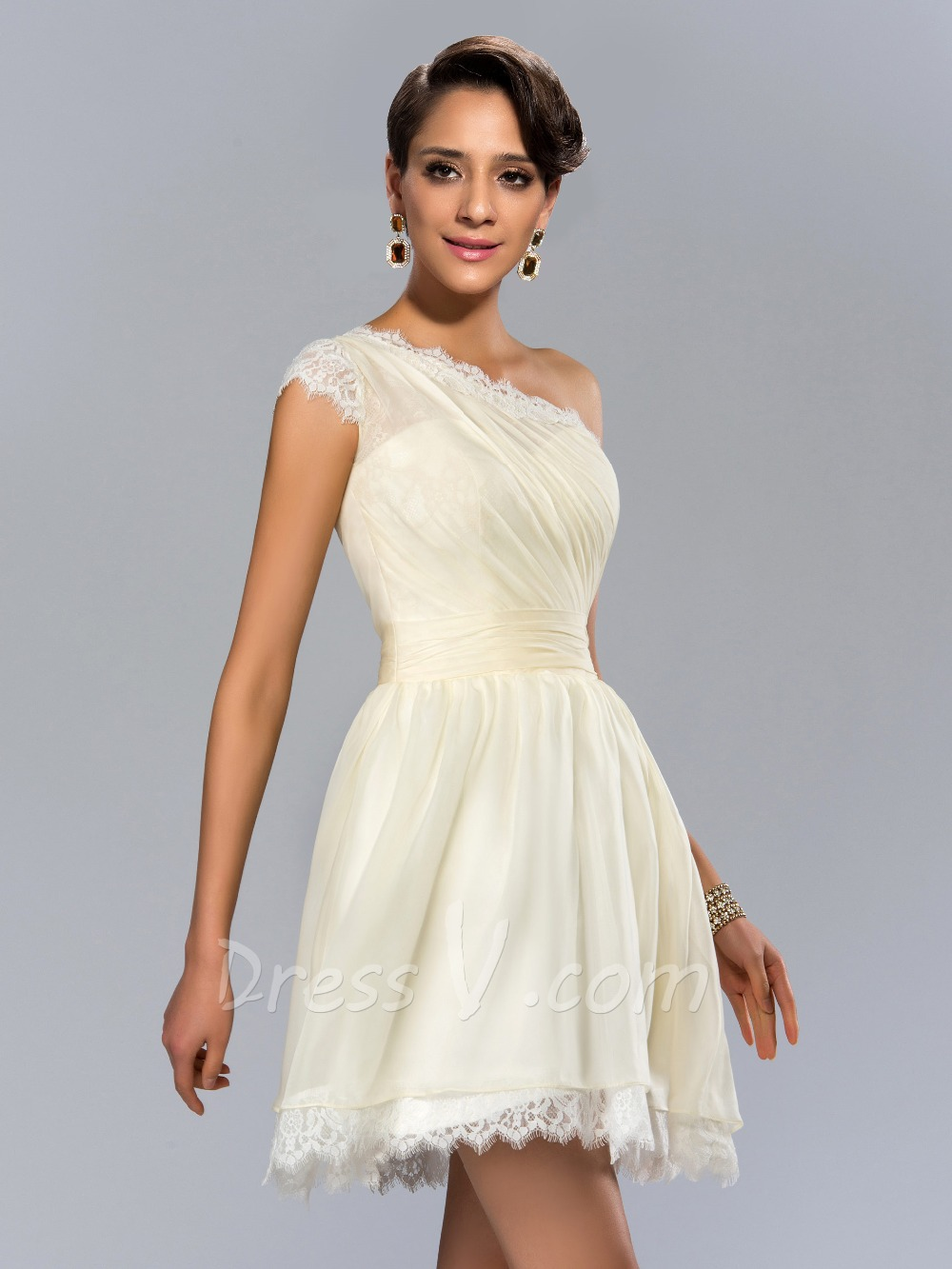 Short White Wedding Party Dresses Cocktail Dresses A line Lace One ...