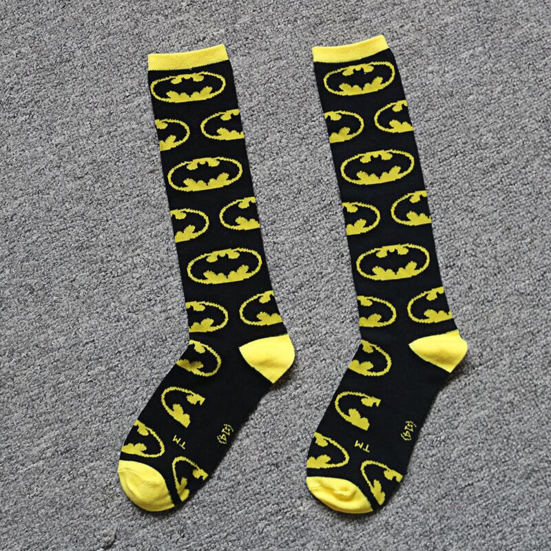 New Years Products Super Hero Socks Batman Knee High With Cape Soccer Socks Anime Cosplay Carnaval Costume For Kid
