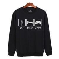 Symbol Eat Sleep Game Cotton Black Gray Cute Sweatshirts Street Wear New Hoodies Men Brand Designer