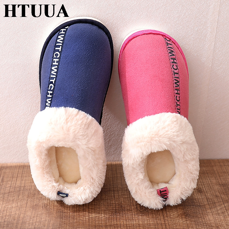 HTUUA Cotton Slippers Flat-Shoes Plush Winter Big-Size Women Indoor Warm Unisex 36-45