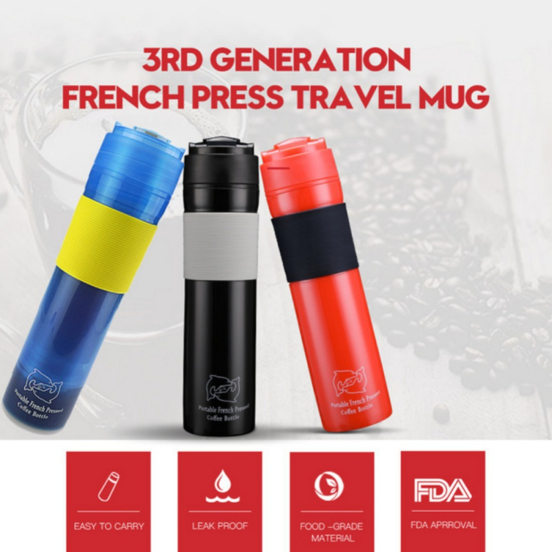 Coffee Pots Maker Stainless Steel 300ml Press Coffee Pot Thermo Teapot Vacuum Tumbler Thermos Coffee Mug Travel