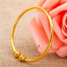 Простой стиль манжеты браслет желтое золото заполненный женский