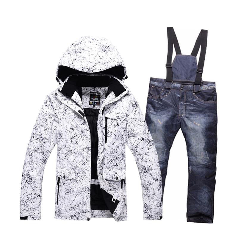 -30 men's ski wear suit snowboard suit waterproof windproof 10000 winter snow suit set + bib warm ski pants large size S-XXXL