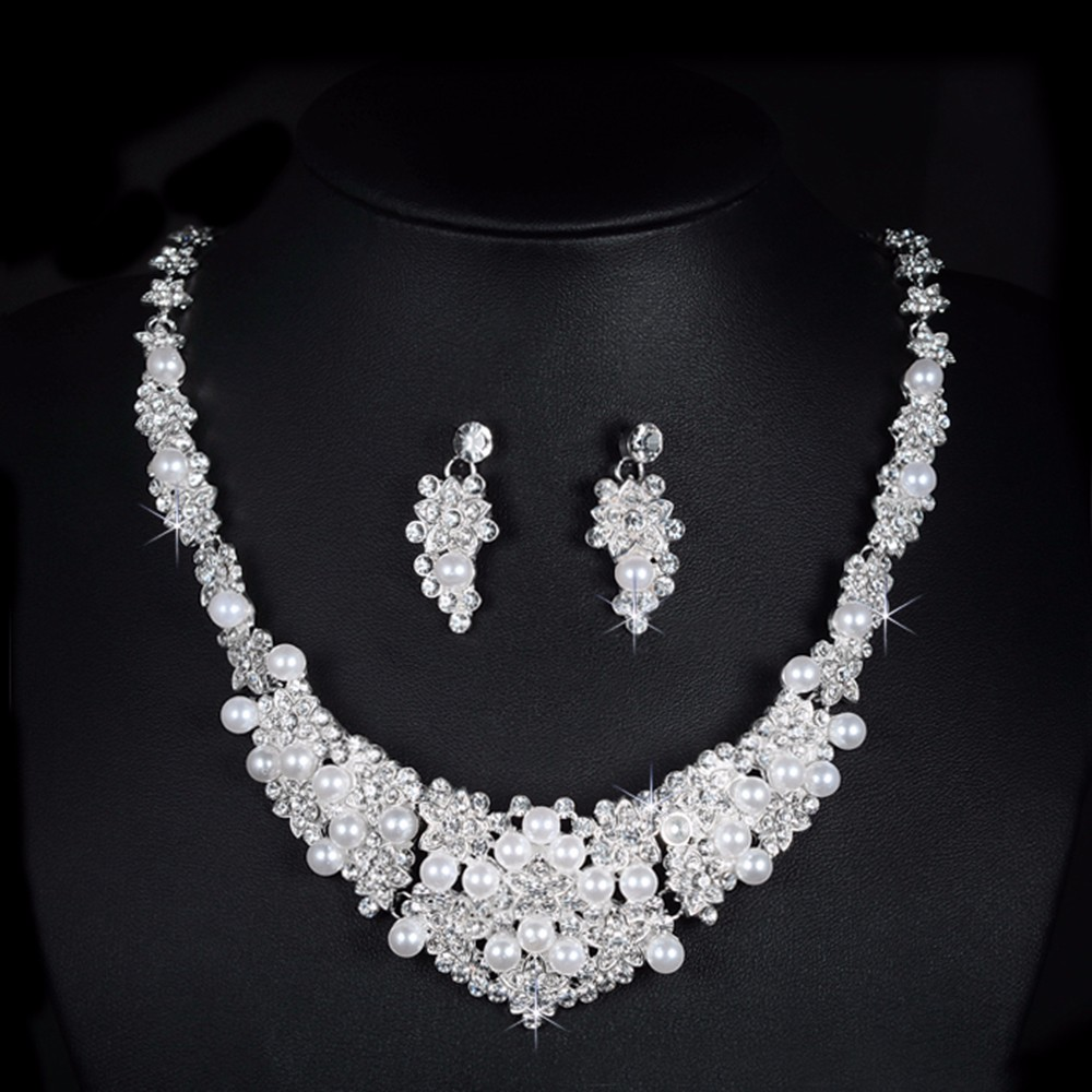high quality austria crystal jewelry sets for women wedding engagement gifts ladies silver plated chains bridal necklace earrings flowers D019 (4)