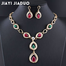 jiayijiaduo India wedding jewelry sets bridesmaid jewelry set Women jewellery Necklace earrings set Water droplets gold color(China)