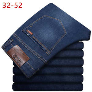 Image 1 - בתוספת גודל 32 52 גברים קלאסי ישר בבאגי ג ינס חדש קיץ זכר דק מזדמן רגיל Fit ינס מכנסיים גדול גודל סרבל עבור Mens