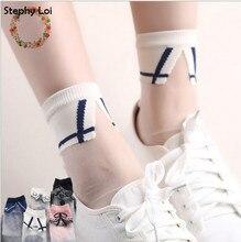 5 styles Japanese Women Girls Transparent Socks Harajuku Collar Pattern Crystal Korean Glass Silk sox Art kawaii funny novelty
