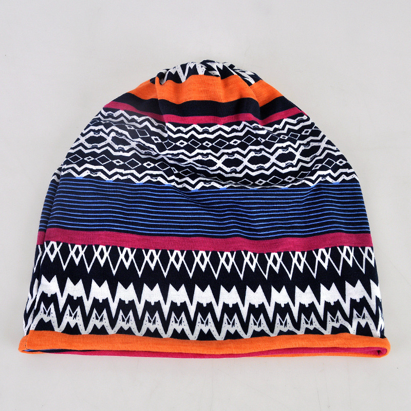 Cokk Womens Winter Hats Female Stripe Pattern Turban Hat Ethnic