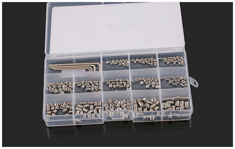 260pcs/pack DIN914 Point end set screws face hexagon set screws M3 M4 M5 M6 headless machine meters top wire with plastic box 6 pack face