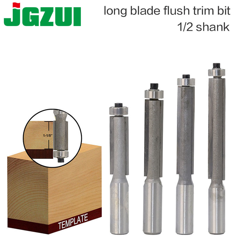 "1pcs 1/2"" Shank Lengthened Flush Trim Router Bits For Wood Trimming Cutters With Bearing Woodworking Tool Milling Cutter"