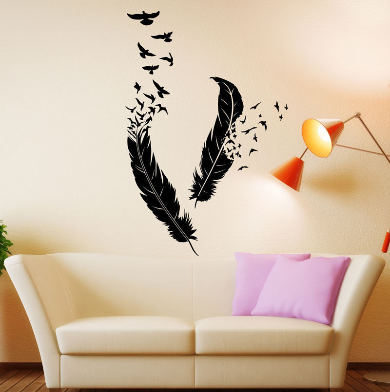 free shipping abstract vinyl wall decal feathers flying birds mural