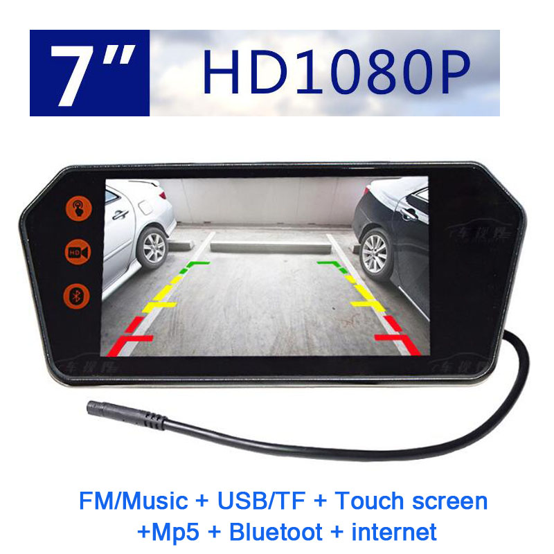 7 inch touch screen bluetooth MP5 Internet Car Rear view Mirror Monitor TF USB HD 1080p LCD mirror PAL/NTSC for car or truck Bus 7 inch touch screen bluetooth mp5 car rear view mirror monitor tf usb 800 480 lcd fpv bt mirror pal ntsc for car or truck bus