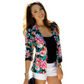 2017 Autumn Durable Fashion Blouse Bomber Jacket Women Long Sleeve Floral Printed Slim Casual Business Suit Jacket Coat Outwear