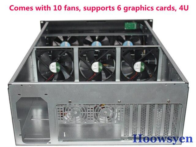 Riser mining case ETH/ETC/ZEC/XMR 4U mine Mining professional case 4U rack with 10 fan long support 33CM graphics support 1080