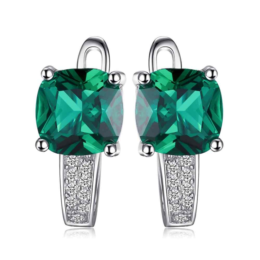 JewelryPalace utworzono pierścionek ze szmaragdem wisiorek kolczyki Hoop zestawy biżuterii ślubnej 925 Sterling biżuteria srebrna z kamieniami Fine Jewelry