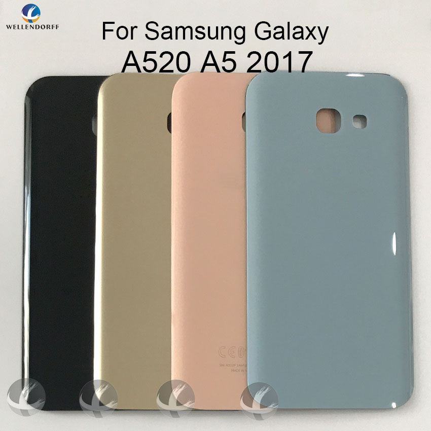 Back Glass Housing + Adhesive For <font><b>Samsung</b></font> Galaxy <font><b>A520</b></font> <font><b>A5</b></font> 2017 Rear Panel Plate Battery Cover Lid Replacement Part With Logo image