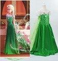 Ccsme DHL del estilo del verano niñas reina de hielo partido de la princesa Ballgown vestidos día de fiesta de Halloween verde princesa Elsa vestidos