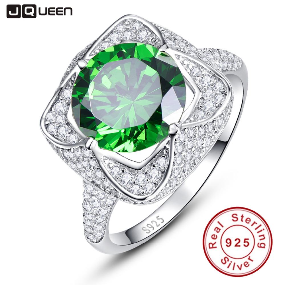 JQUEEN 6 5ct Genuine Emerald 925 Sterling Silver Rings Round Cut Flower Design Engagement Ring anillos