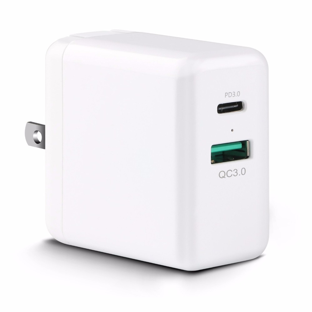 NewBEPUSB Type C with Power Delivery 29W USB Wall Foldable Charger Adapter for iPhone8/ 8 Plus/ X, MacBook Samsung Galaxy Note 8 6 usb port ac power charger adapter w us plug for iphone ipad ipod samsung tablet pc white