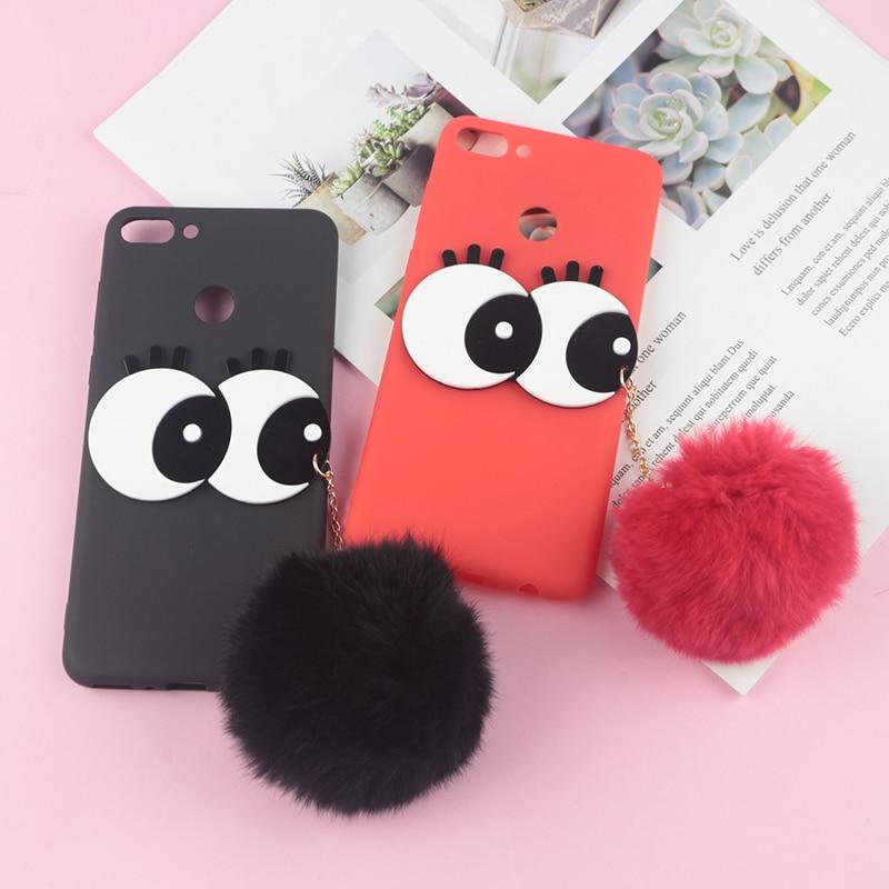 US $3 19 20% OFF|3D Cartoon Big Eyes Cute Hair Ball Case For Huawei Honor  9N 9i 10 Lite 5 84
