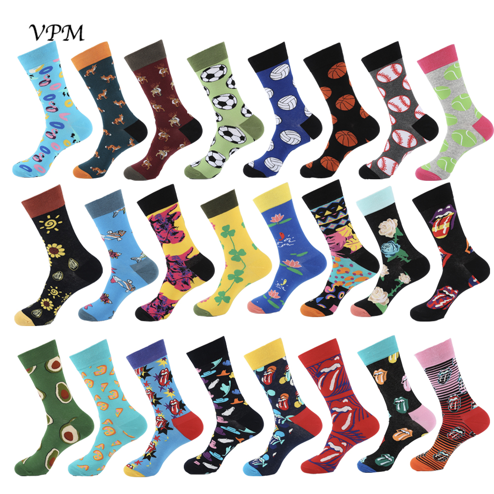 VPM New Colorful Cotton Cool Men's Socks Harajuku Hip Hop Happy Cartoon Funny Ball Red Tongue Avocado Fox Socks For Man Gifts