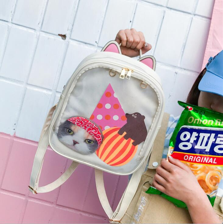 Women backpack Candy Color Transparent Bag Lovely Ita bag Cat Ear PU Leather Backpacks Women Bags for Schoolbags Teenage Girls hot sale cat printing backpack pu leather mini backpacks women school bags for teenage girls bags children backpack bag s1304