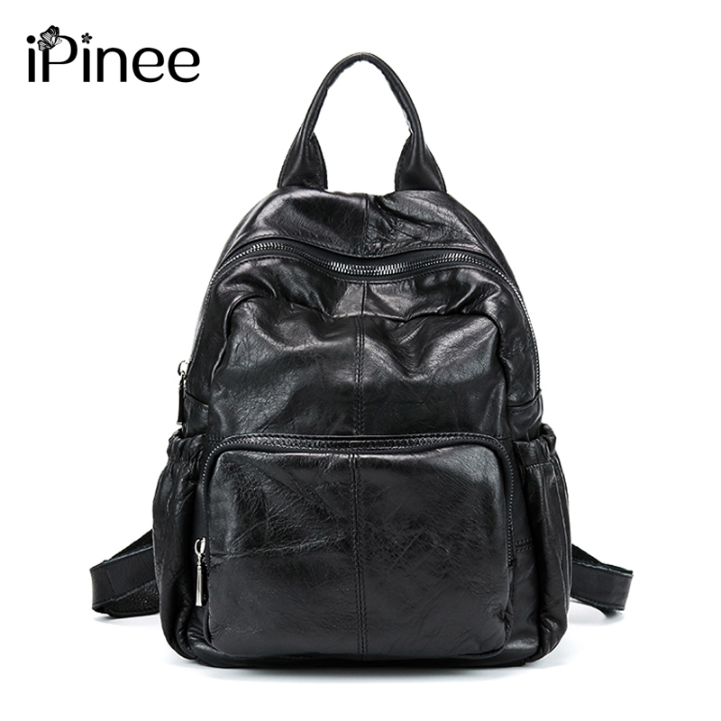 iPinee Fashion Designer Cow Genuine Leather Women Backpack High Quality School Bags For Teenagers Girls Female Travel BackPack senkey style designer backpack men high quality 2017 waterproof leather retro laptop backpack women school bags for teenagers
