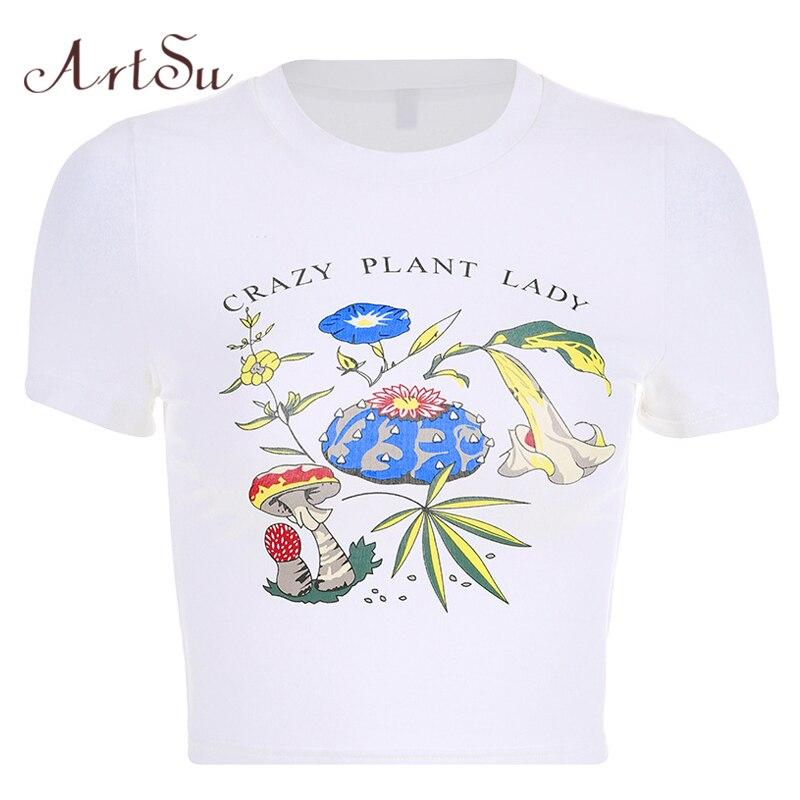 ArtSu 2019 Summer Floral Printed Tshirt Short Sleeve Crop Top Kawaii Woman Shirts Casual White T shirt Camisas Mujer ASTS20709