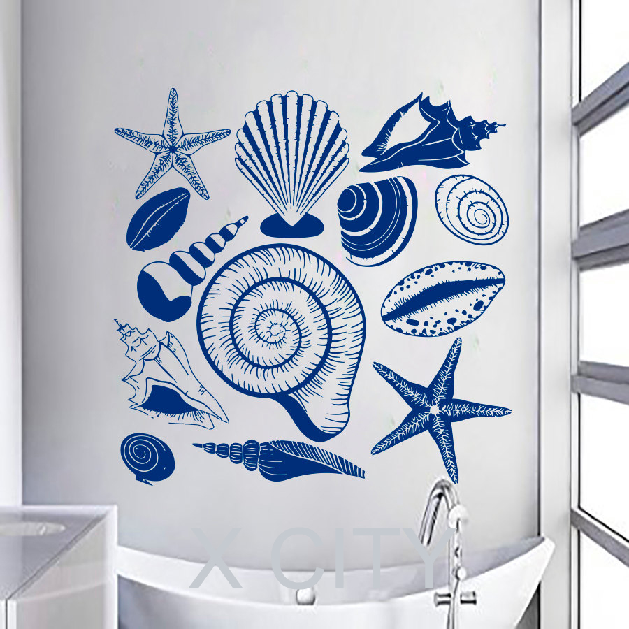 Bathroom wall art sea - Aliexpress Com Buy Cute Sea Shell Wall Art Sticker Vinyl Cut Transfer Decal Home Nursery Bathroom Decor Stencil Mural From Reliable Stencil Bga Suppliers