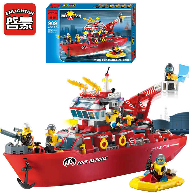 ФОТО Enlighten 909 Fire Rescue Boat Model Building Blocks City Ship 359pcs 3D Bricks Educational Building Toys For Children Gifts