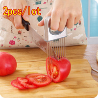 2pcs/set SS304 Onions Plug Fruit Vegetable Slicer Meat Trenderize Needle Onion Holder Graters Tomato Cutter Finger Protector