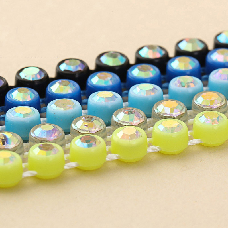 Taidian AB Crystal Rhinestone Banding Chain Wholesale Glass Trim Crafts Clothes Wedding Applique 300yards/lot ss8 and SS6