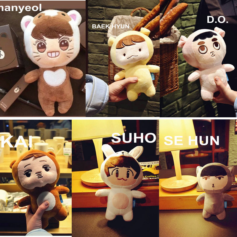 23cm Kpop Actors EXO Plush Doll Stuffed Toys Cute Chanyeol/SE HUN/KAI/D.O. /SUHO/BAEK HYUN Popular Korea Singer For EXO-K Fans