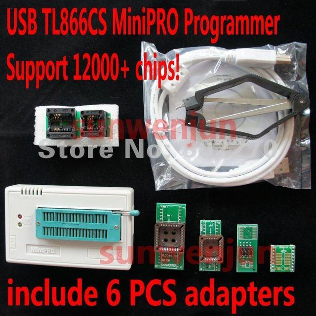 Alta velocidade USB Universal Programmer MiniPro TL866CS incluem 6 PCS adaptadores suportam mais de 12000 fichas apoiar WIN7 64bit
