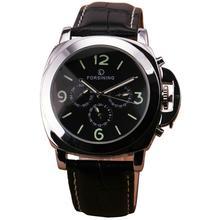 Горячие классические мужские многофункциональный автоматические механические часы р * дизайн 6 ручной 3 Subdials кожаный ремешок рождество подарок любовника + коробка